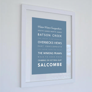 Salcombe Typographic Travel Print- Coastal Wall Art /Poster