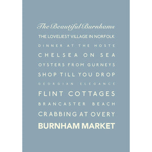 Burnham Market Typographic Travel Print- Coastal Wall Art /Poster