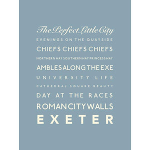 Exeter Typographic Travel Print- Coastal Wall Art /Poster