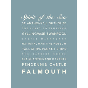 Falmouth Typographic Travel Print- Coastal Wall Art /Poster