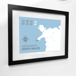 Aberdaron Nautical Map Seaside Print - Coastal Wall Art /Poster