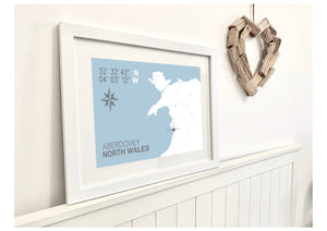 Aberdovey Nautical Map Seaside Print - Coastal Wall Art /Poster