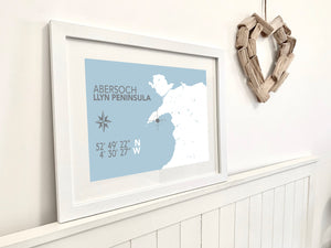 Abersoch Nautical Map Seaside Print - Coastal Wall Art /Poster