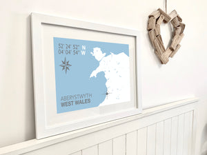 Aberystwyth Nautical Map Seaside Print - Coastal Wall Art /Poster