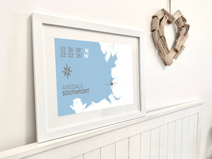 Ainsdale Map Travel Print - Coastal Wall Art /Poster