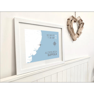 Aldeburgh Nautical Map Print - Coastal Wall Art /Poster