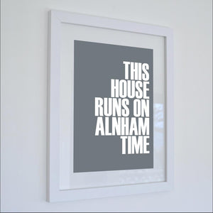 Alnham Time Typographic Seaside Print - Coastal Wall Art /Poster