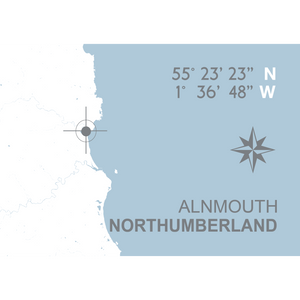 Alnmouth Map Travel Print- Coastal Wall Art /Poster