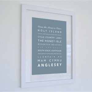 Anglesey Typographic Travel Print- Coastal Wall Art /Poster