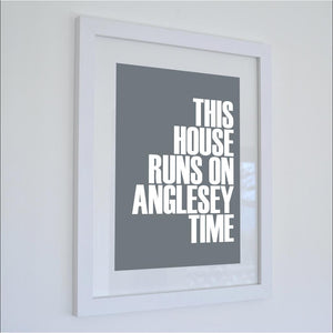 Anglesey Time Typographic Print- Coastal Wall Art /Poster