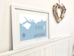 Angmering Map Travel Print- Coastal Wall Art /Poster