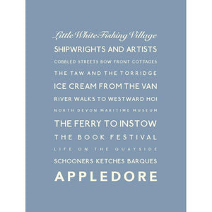 Appledore Typographic Travel Print- Coastal Wall Art /Poster