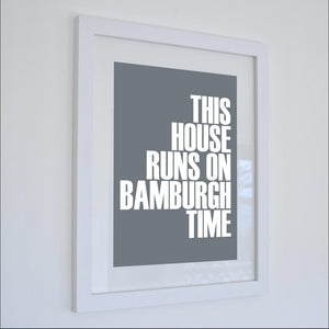 Bamburgh Time Typographic Print- Coastal Wall Art /Poster