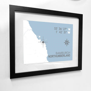 Bamburgh Map Travel Print- Coastal Wall Art /Poster