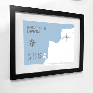 Barnstaple Map Travel Print- Coastal Wall Art /Poster