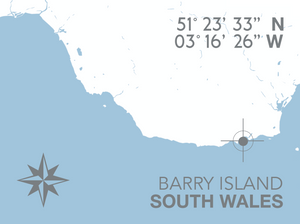 Barry Island Nautical Map Seaside Print - Coastal Wall Art /Poster