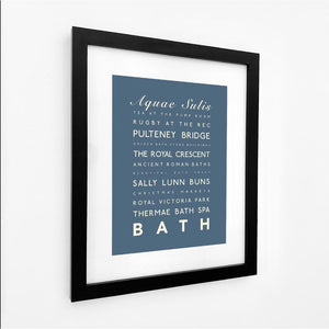 Bath Typographic Travel Print - Coastal Wall Art /Poster