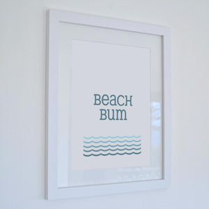 Beach Bum Typographic Print - Coastal Wall Art