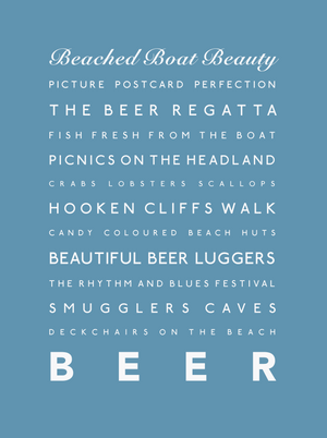 Beer Typographic Travel Print- Coastal Wall Art /Poster