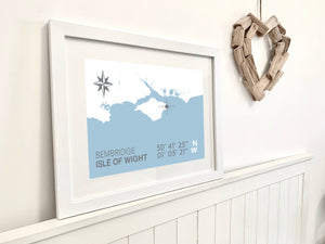 Bembridge Map Travel Print- Coastal Wall Art /Poster