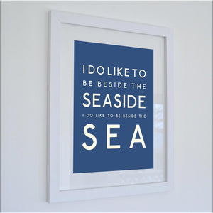 Beside the Sea Typographic Travel Print- Coastal Wall Art /Poster