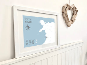 Borth Map Travel Print - Coastal Wall Art /Poster