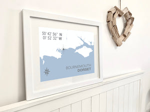 Bournemouth Map Travel Print- Coastal Wall Art /Poster