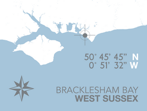 Bracklesham Bay Map Travel Print- Coastal Wall Art /Poster