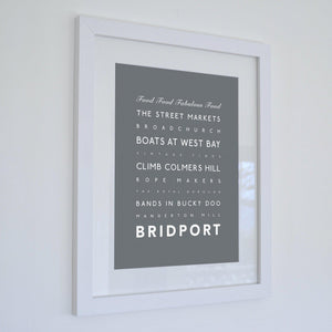 Bridport Typographic Travel Print- Coastal Wall Art /Poster