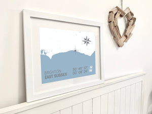 Brighton Map Travel Print- Coastal Wall Art /Poster