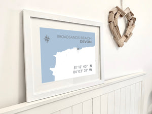 Broadsands Beach Map Travel Print- Coastal Wall Art /Poster