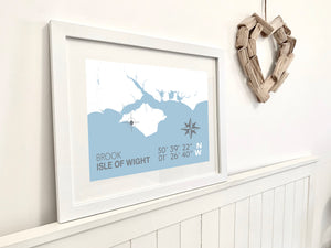 Brook Map Travel Print- Coastal Wall Art /Poster
