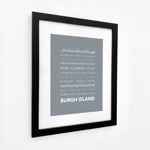 Burgh Island Typographic Travel Print- Coastal Wall Art /Poster