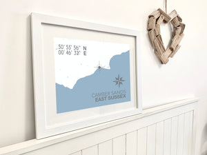 Camber Sands Map Travel Print- Coastal Wall Art /Poster