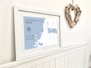 Camusdarach Beach Map Print - Coastal Wall Art /Poster