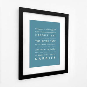 Cardiff Typographic Travel Print- Coastal Wall Art /Poster