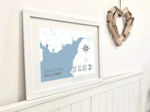 Cardoness Map Print - Coastal Wall Art /Poster