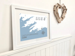Castletownshend Nautical Map Print - Coastal Wall Art /Poster