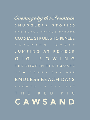 Cawsand Typographic Travel Print- Coastal Wall Art /Poster