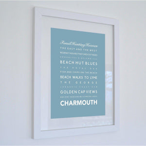 Charmouth Typographic Print- Coastal Wall Art /Poster