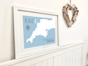 Chudleigh Map Travel Print- Coastal Wall Art /Poster