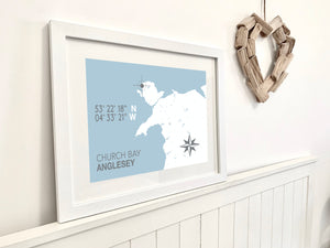 Church Bay, Anglesey, Nautical Map Seaside Print - Coastal Wall Art /Poster