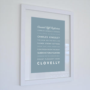 Clovelly Typographic Print - Coastal Wall Art /Poster