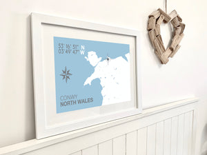 Conwy Nautical Map Travel Print - Coastal Wall Art /Poster