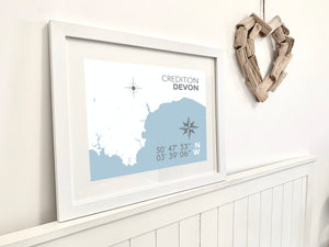 Crediton Map Travel Print- Coastal Wall Art /Poster
