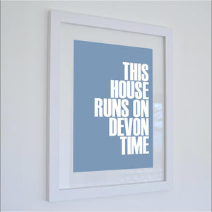 Devon Time Typographic Print - Coastal Wall Art /Poster