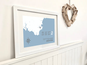 Dittisham Map Travel Print- Coastal Wall Art /Poster