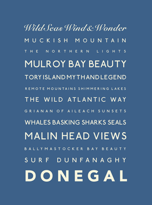 Donegal Typographic Travel Print- Coastal Wall Art /Poster