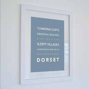 Dorset Typographic Travel Print- Coastal Wall Art /Poster