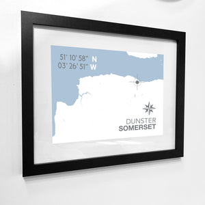 Dunster Map Travel Print - Coastal Wall Art /Poster